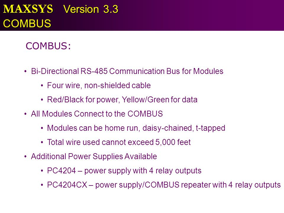 MAXSYS Version 3.3 COMBUS COMBUS: