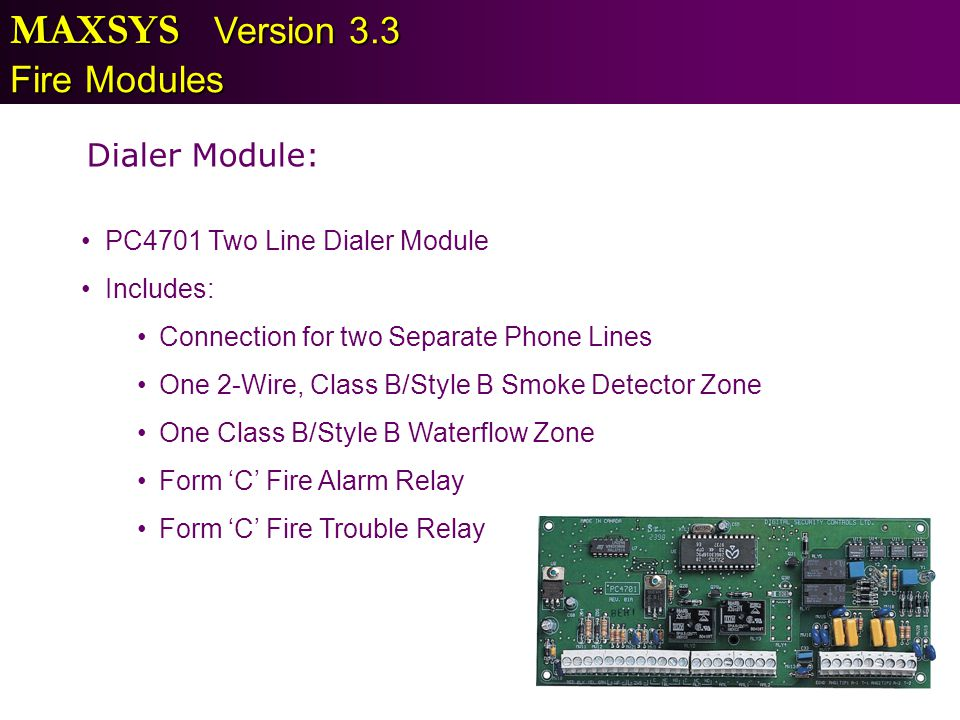 MAXSYS Version 3.3 Fire Modules Dialer Module: