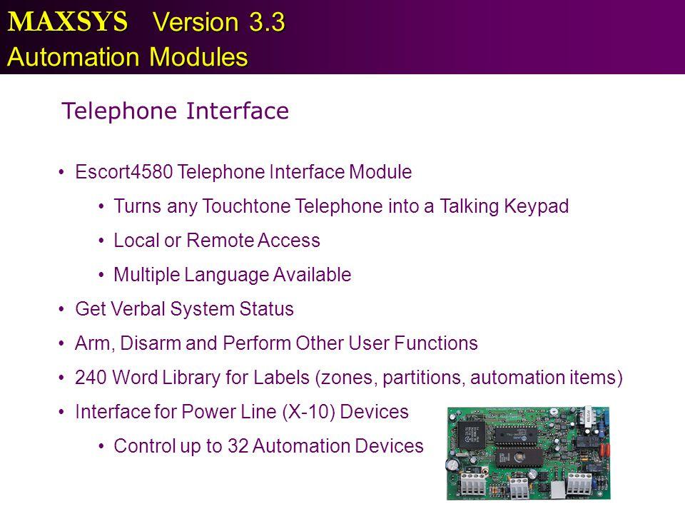 MAXSYS Version 3.3 Automation Modules Telephone Interface