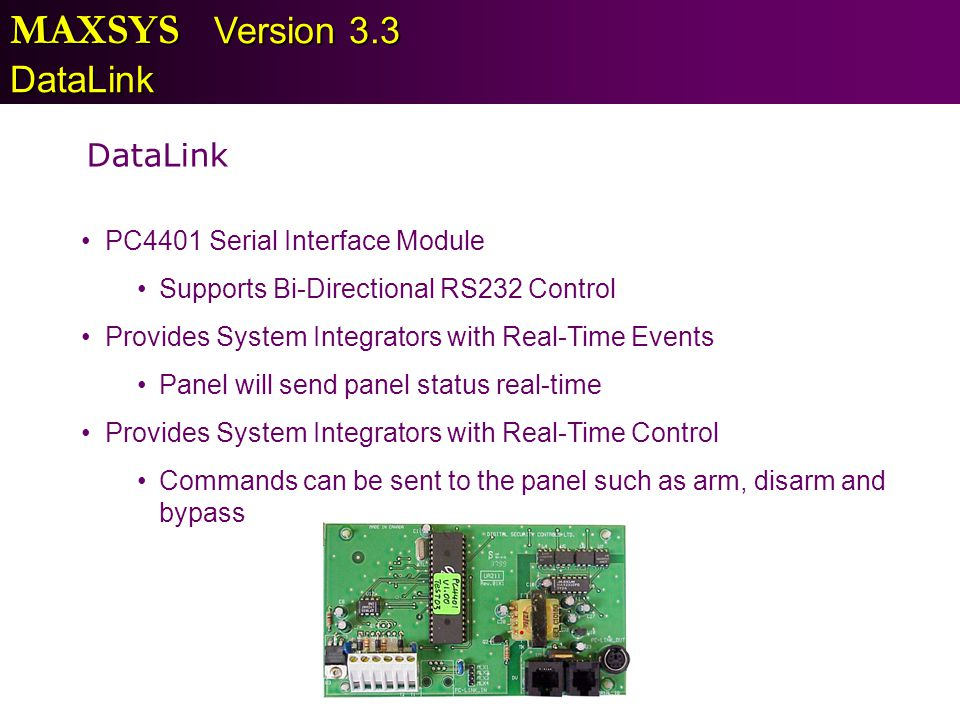 MAXSYS Version 3.3 DataLink DataLink PC4401 Serial Interface Module