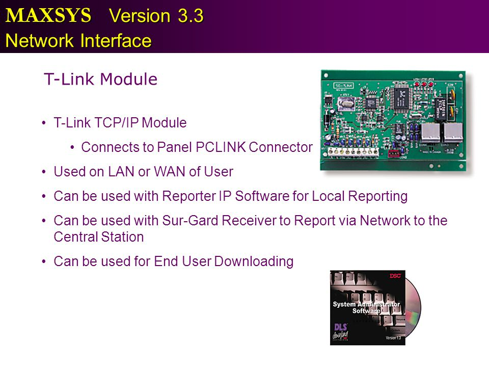 MAXSYS Version 3.3 Network Interface T-Link Module