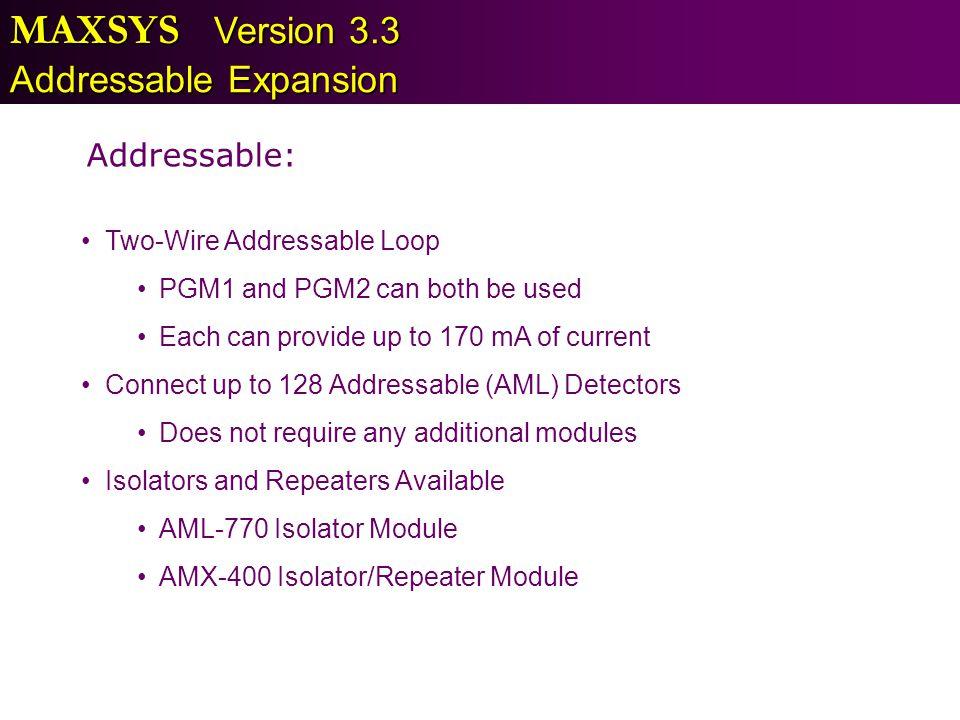 MAXSYS Version 3.3 Addressable Expansion Addressable: