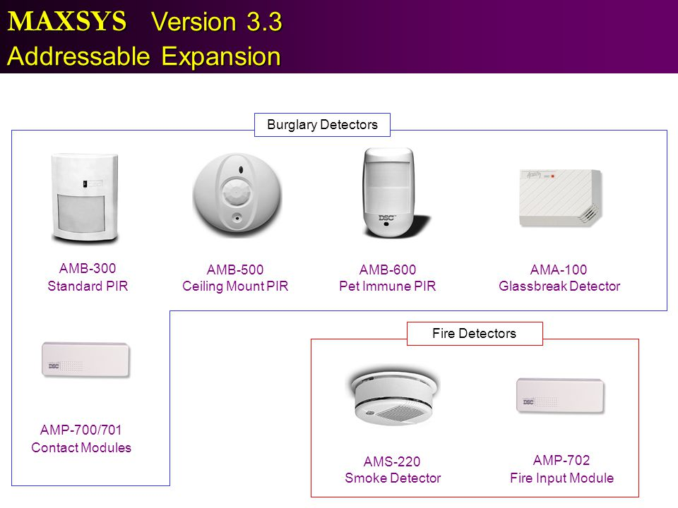 MAXSYS Version 3.3 Addressable Expansion Burglary Detectors AMB-300