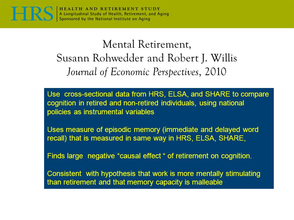 Mental Retirement, Susann Rohwedder and Robert J