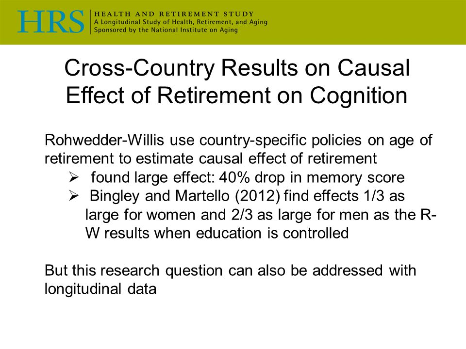 Cross-Country Results on Causal Effect of Retirement on Cognition