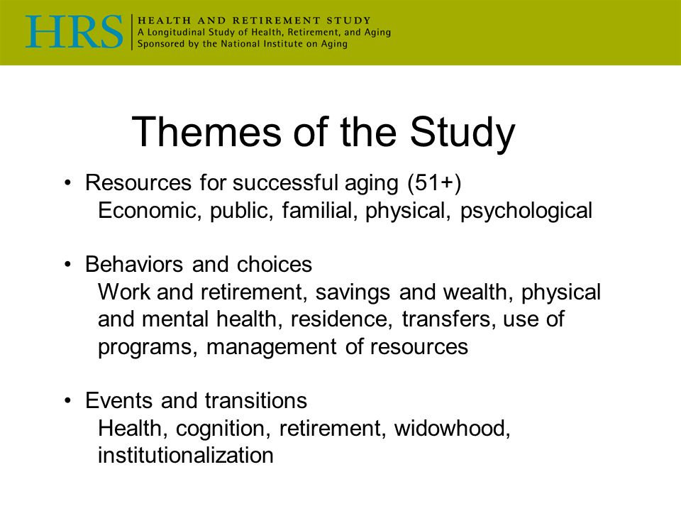 Themes of the Study Resources for successful aging (51+)