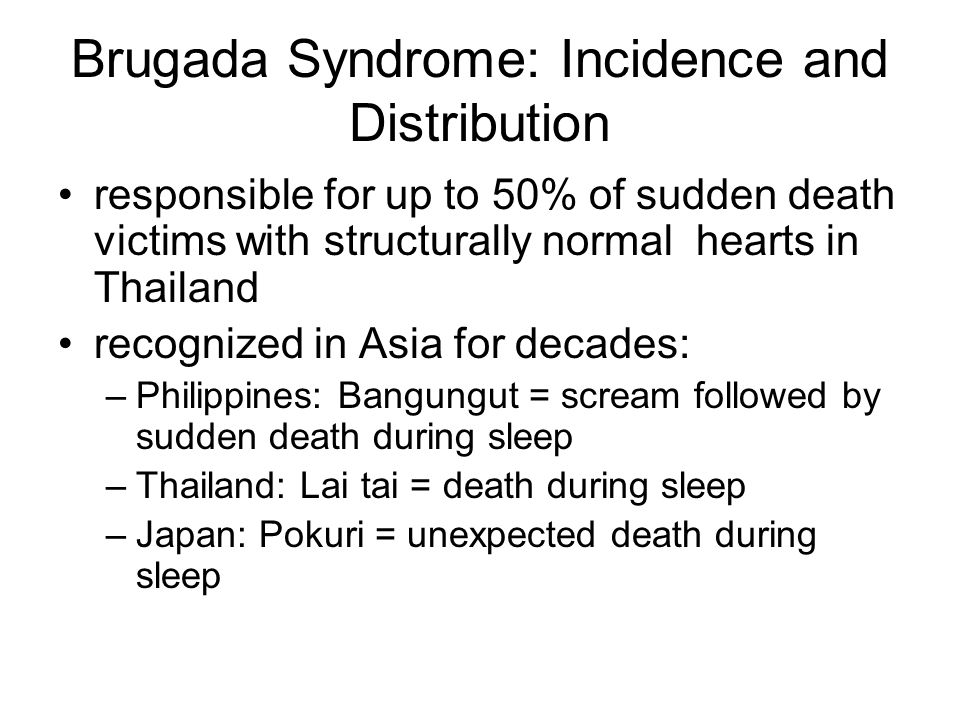 Brugada Syndrome: Incidence and Distribution