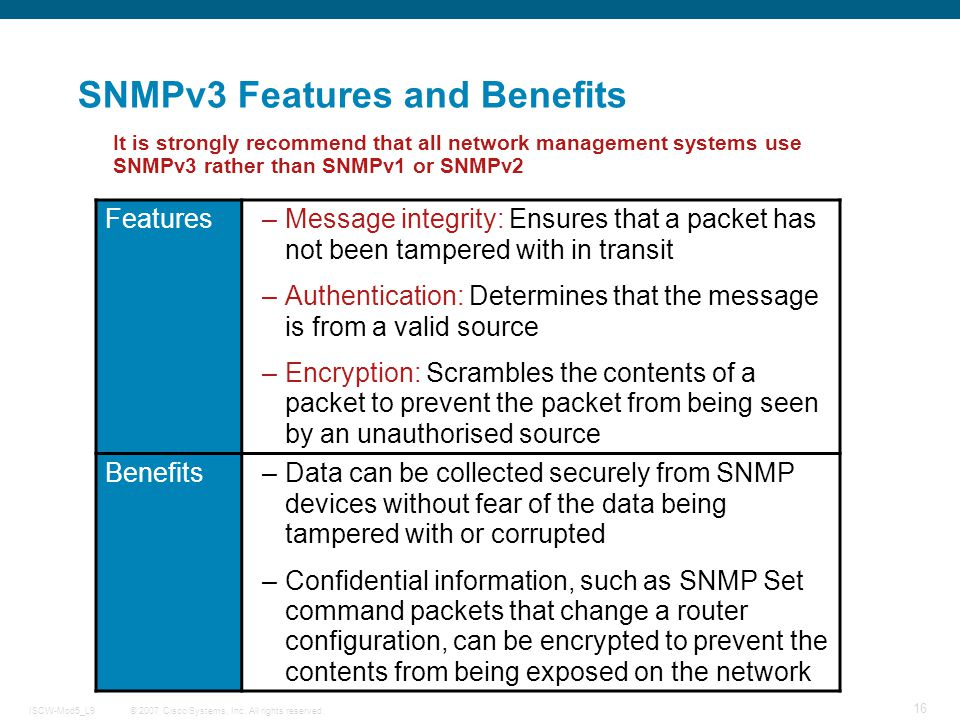 SNMPv3 Features and Benefits