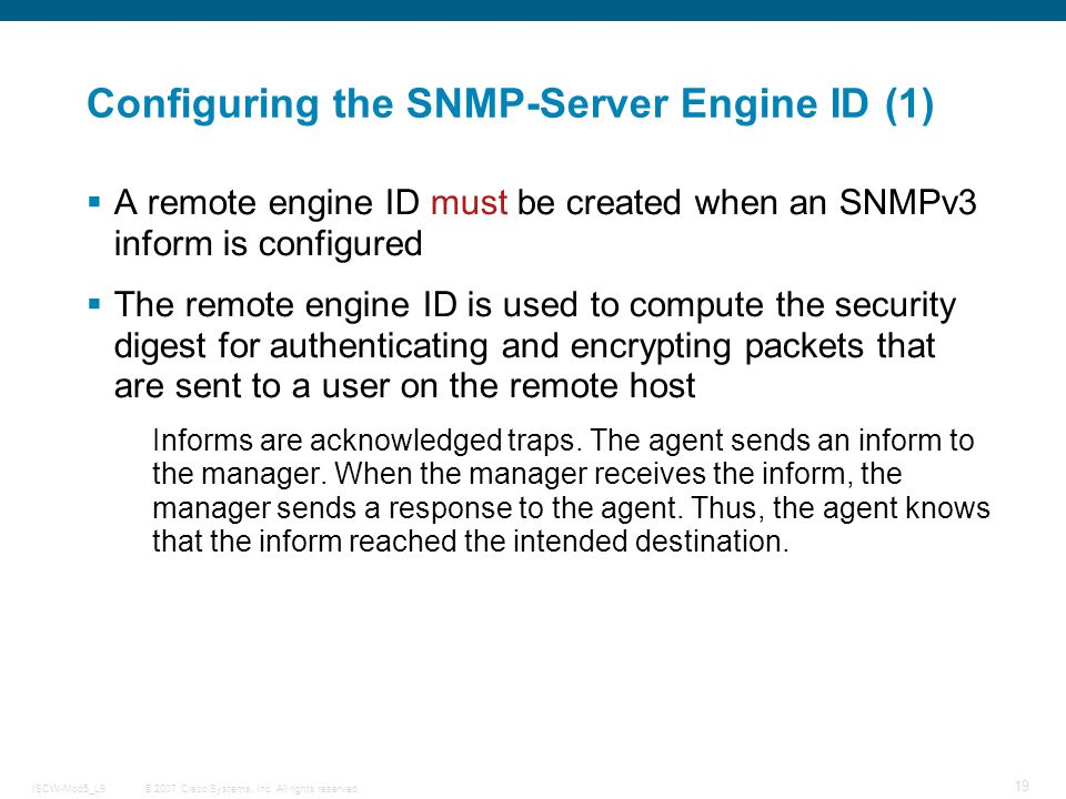 Configuring the SNMP-Server Engine ID (1)