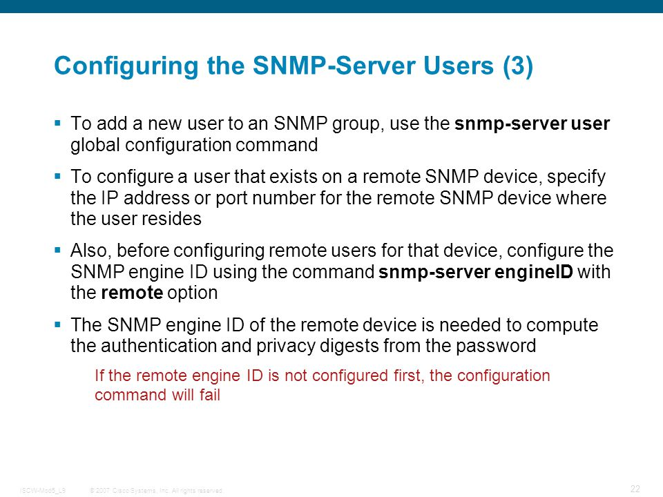 Configuring the SNMP-Server Users (3)