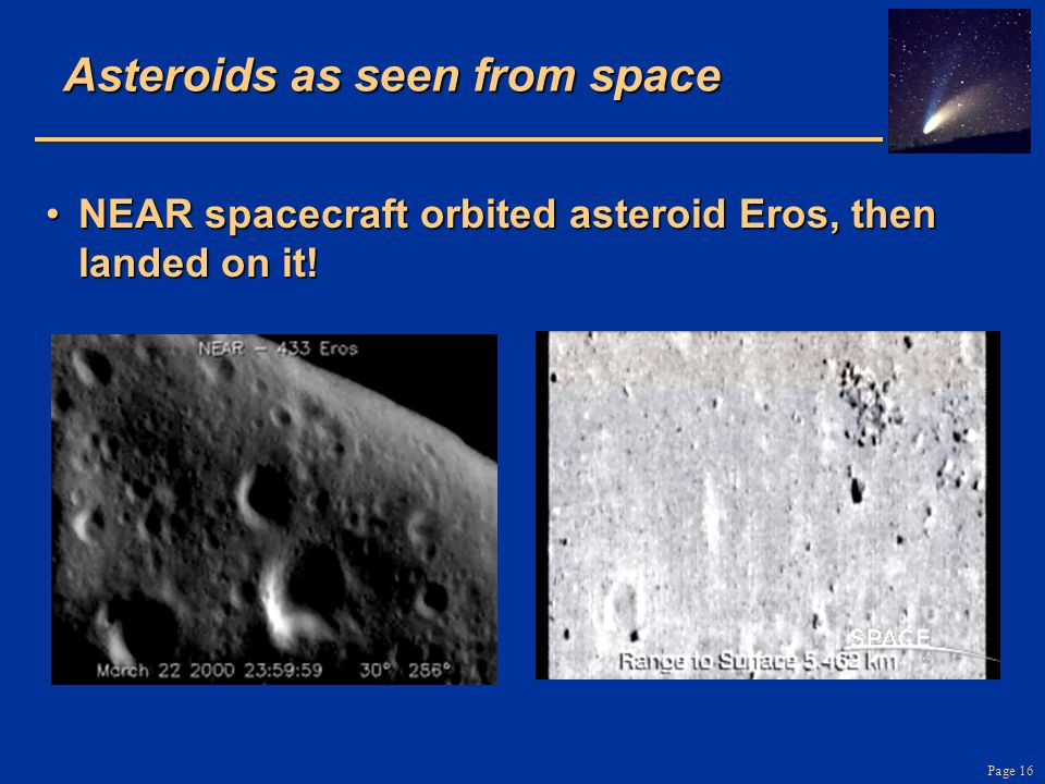Asteroids as seen from space