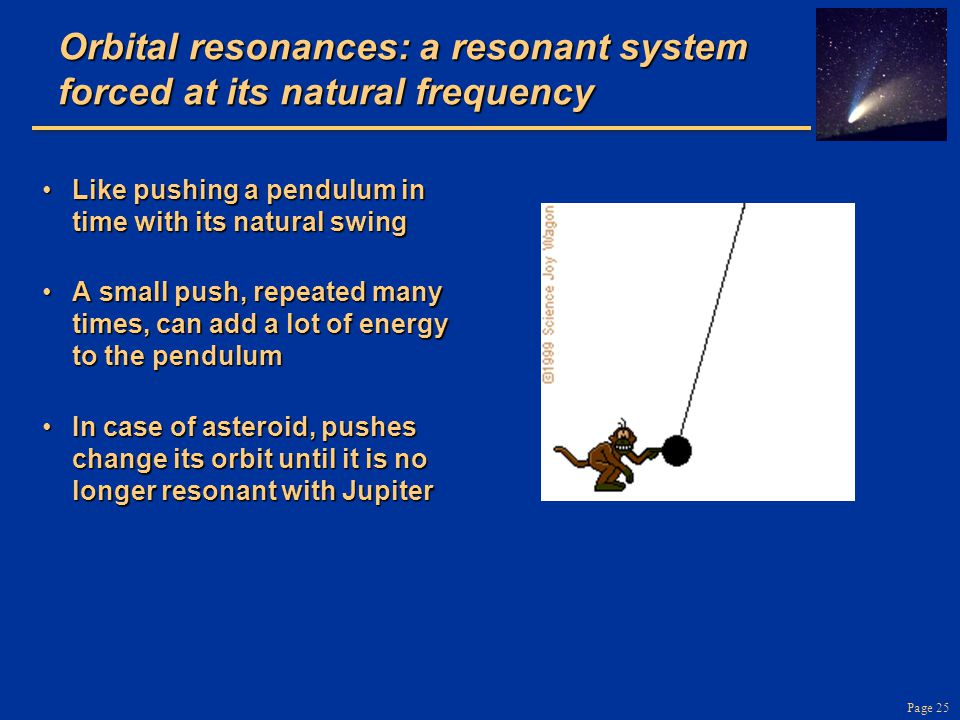Orbital resonances: a resonant system forced at its natural frequency