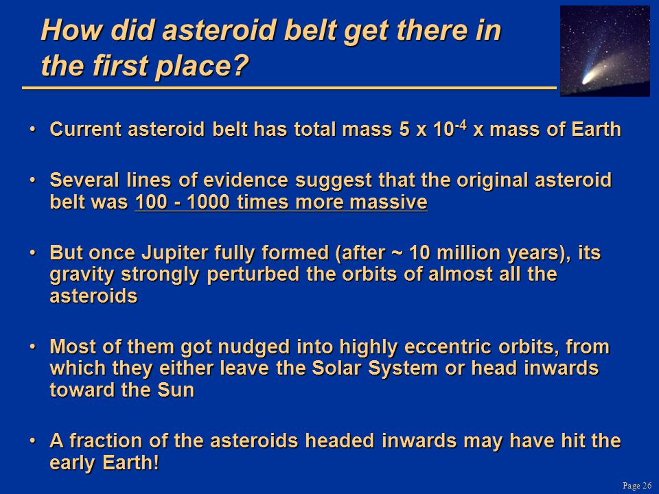 How did asteroid belt get there in the first place