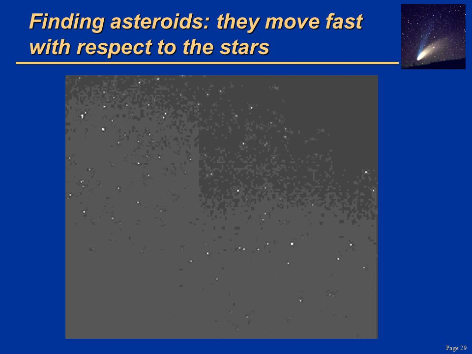 Finding asteroids: they move fast with respect to the stars