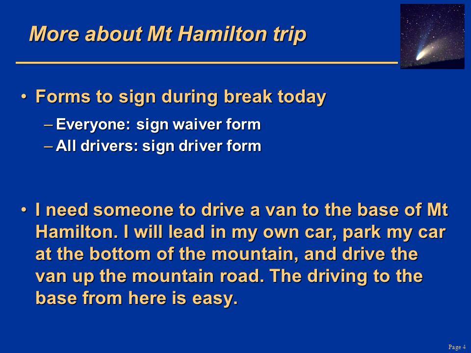 More about Mt Hamilton trip