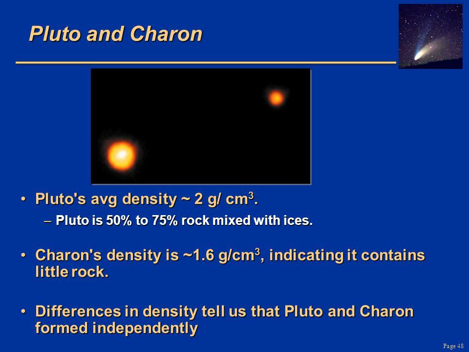 Pluto and Charon Pluto s avg density ~ 2 g/ cm3.