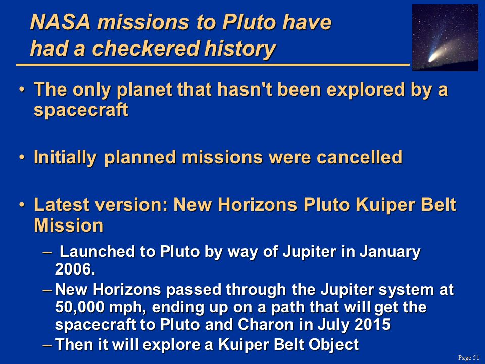 NASA missions to Pluto have had a checkered history