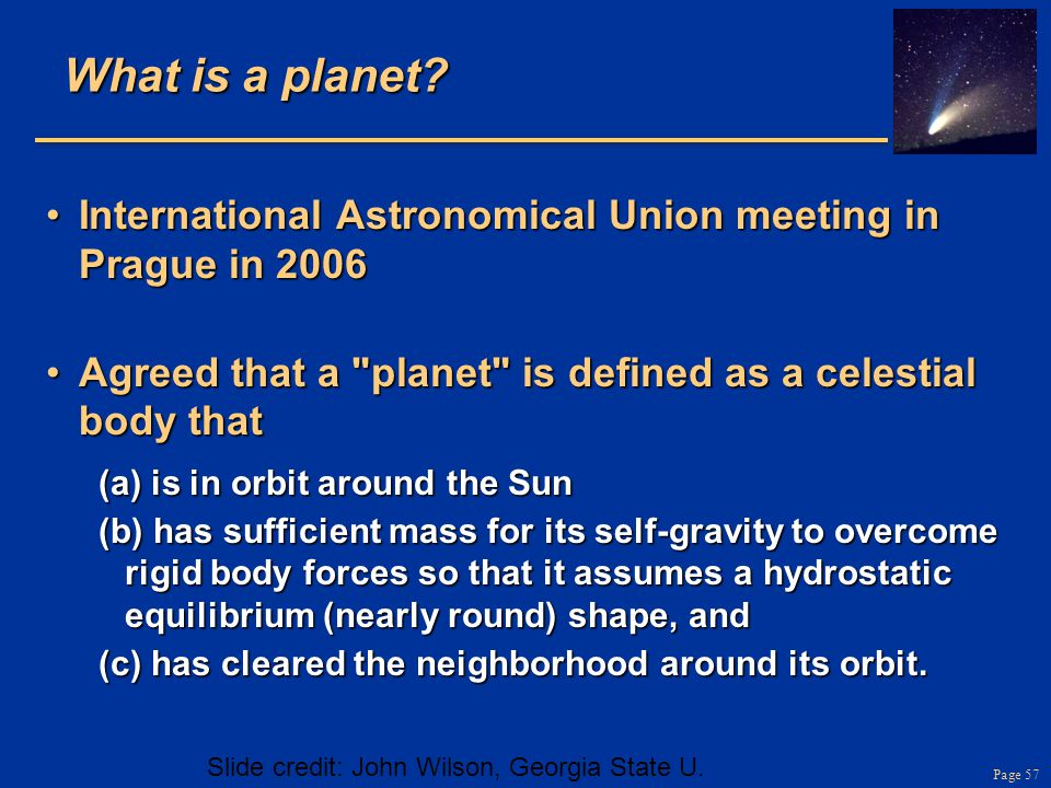 What is a planet International Astronomical Union meeting in Prague in 2006. Agreed that a planet is defined as a celestial body that.