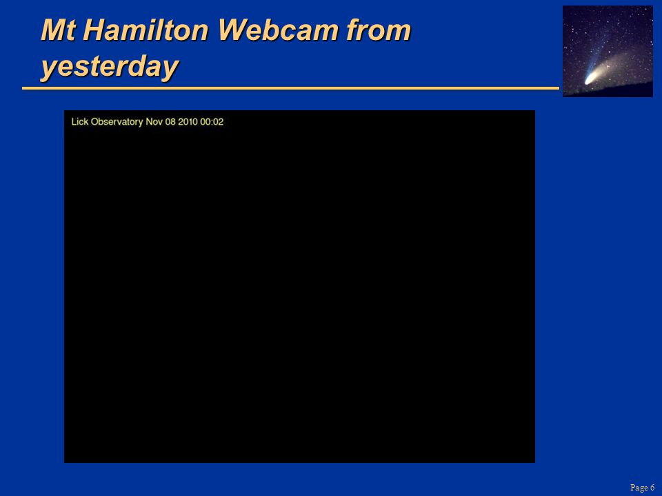 Mt Hamilton Webcam from yesterday