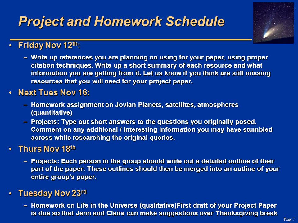 Project and Homework Schedule