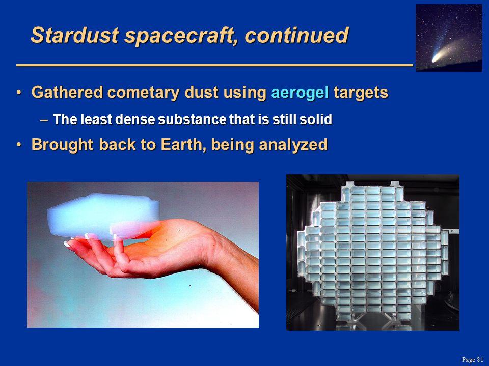 Stardust spacecraft, continued