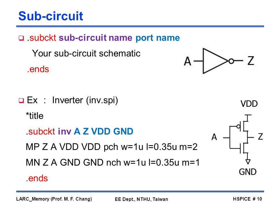 Sub-circuit .subckt sub-circuit name port name
