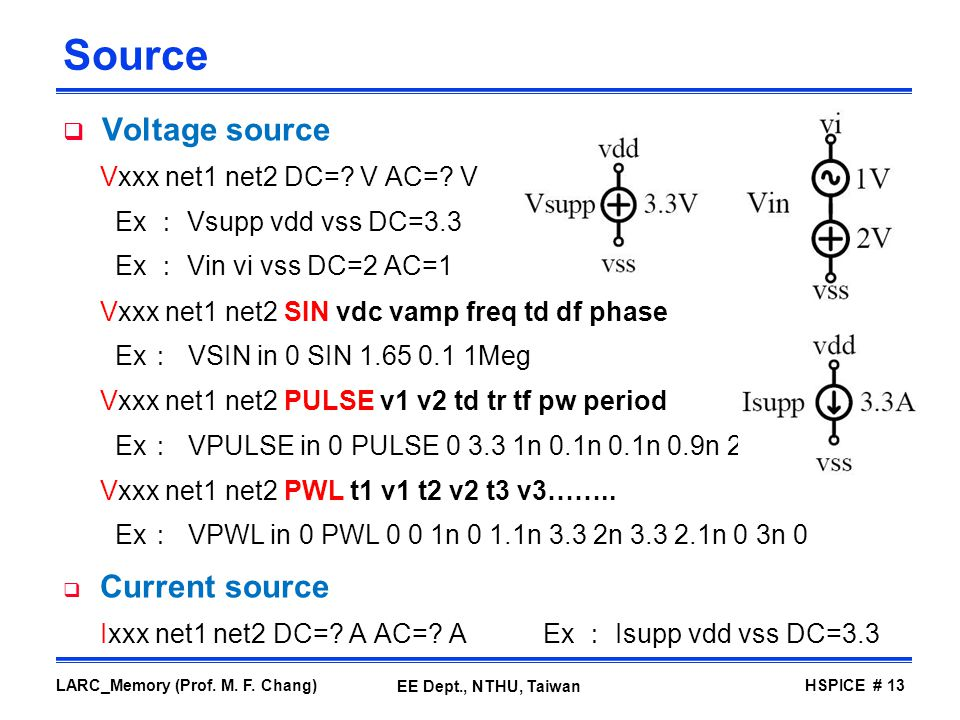 Source Voltage source Vxxx net1 net2 DC= V AC= V
