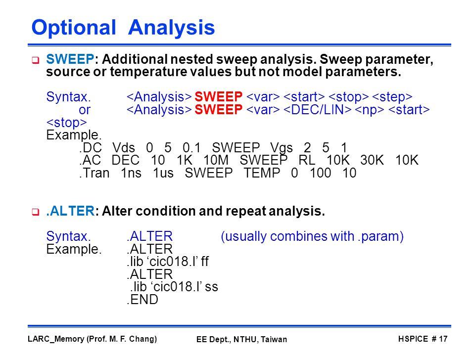Optional Analysis