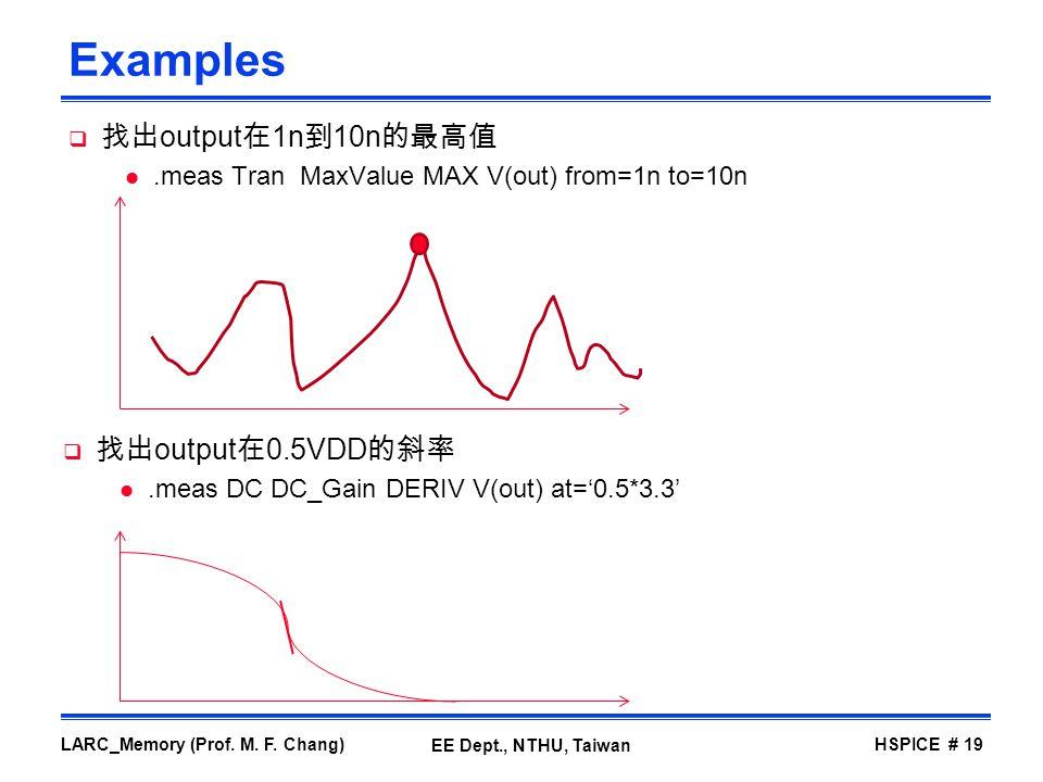 Examples 找出output在1n到10n的最高值 找出output在0.5VDD的斜率