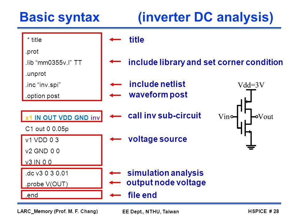Basic syntax (inverter DC analysis)