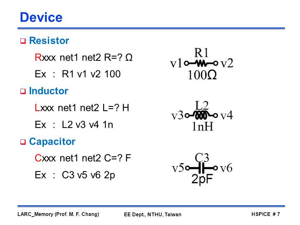 Device Resistor Rxxx net1 net2 R= Ω Ex : R1 v1 v2 100 Inductor