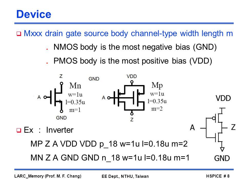 Device Mxxx drain gate source body channel-type width length m
