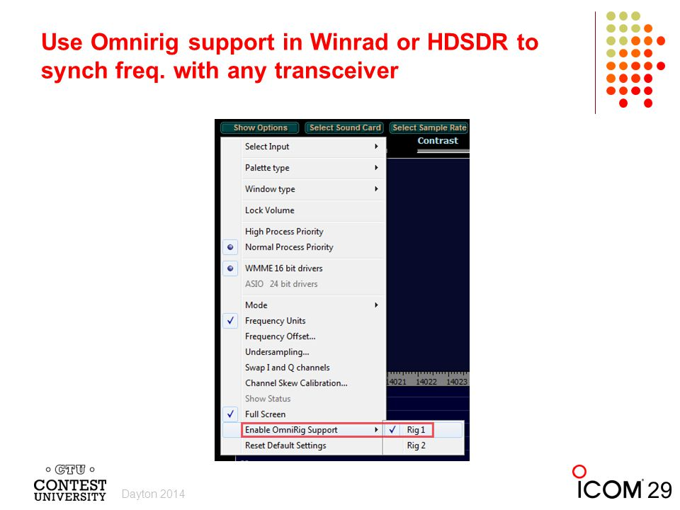 Use Omnirig support in Winrad or HDSDR to synch freq