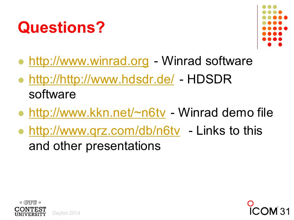 Questions http://www.winrad.org - Winrad software