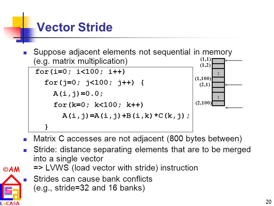 Vector Stride Suppose adjacent elements not sequential in memory (e.g. matrix multiplication)