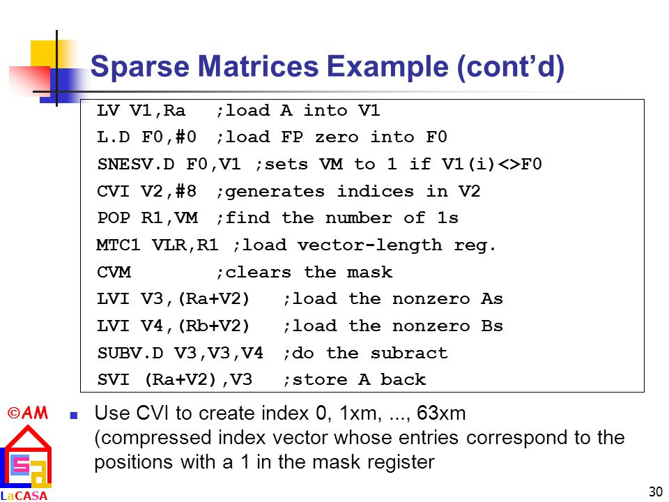 Sparse Matrices Example (cont'd)