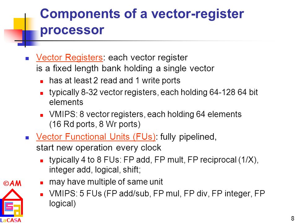 Components of a vector-register processor