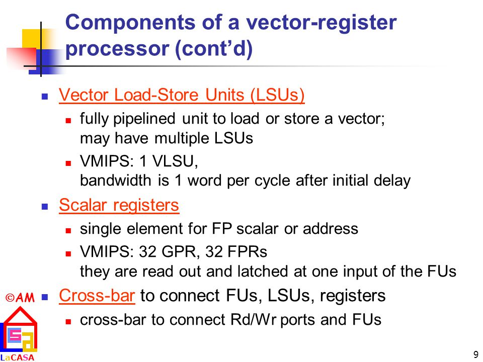 Components of a vector-register processor (cont'd)