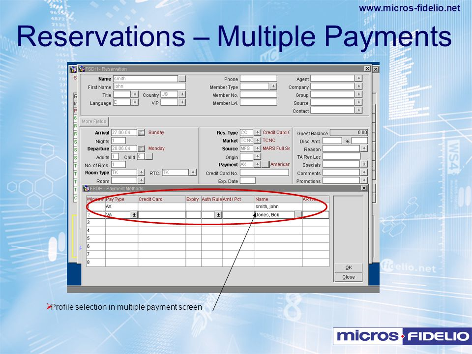 Reservations – Multiple Payments