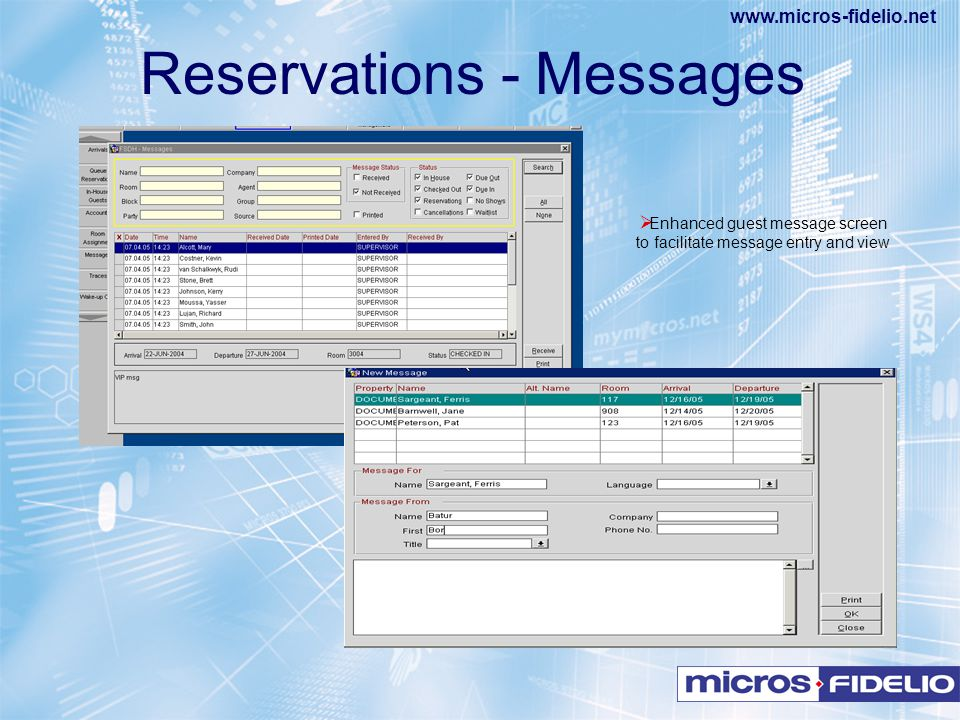 Reservations - Messages