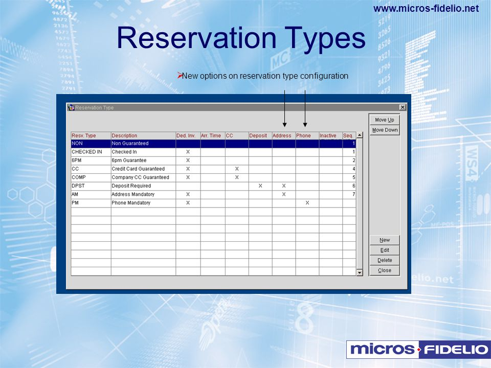 New options on reservation type configuration