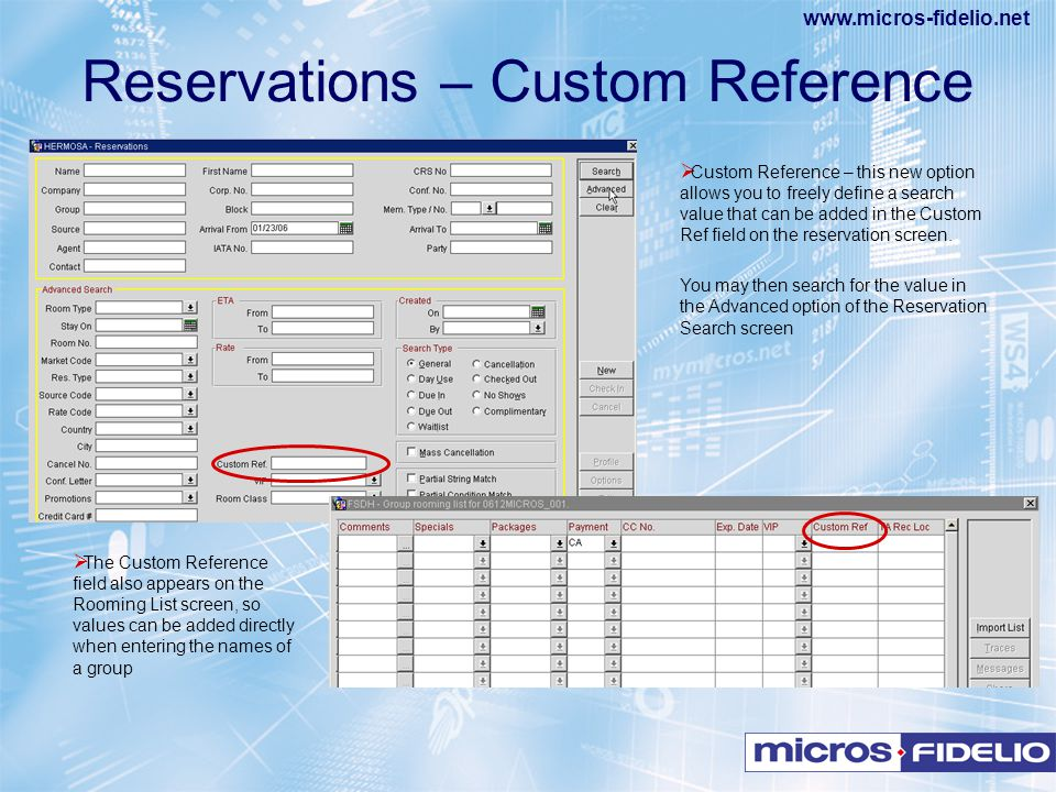Reservations – Custom Reference