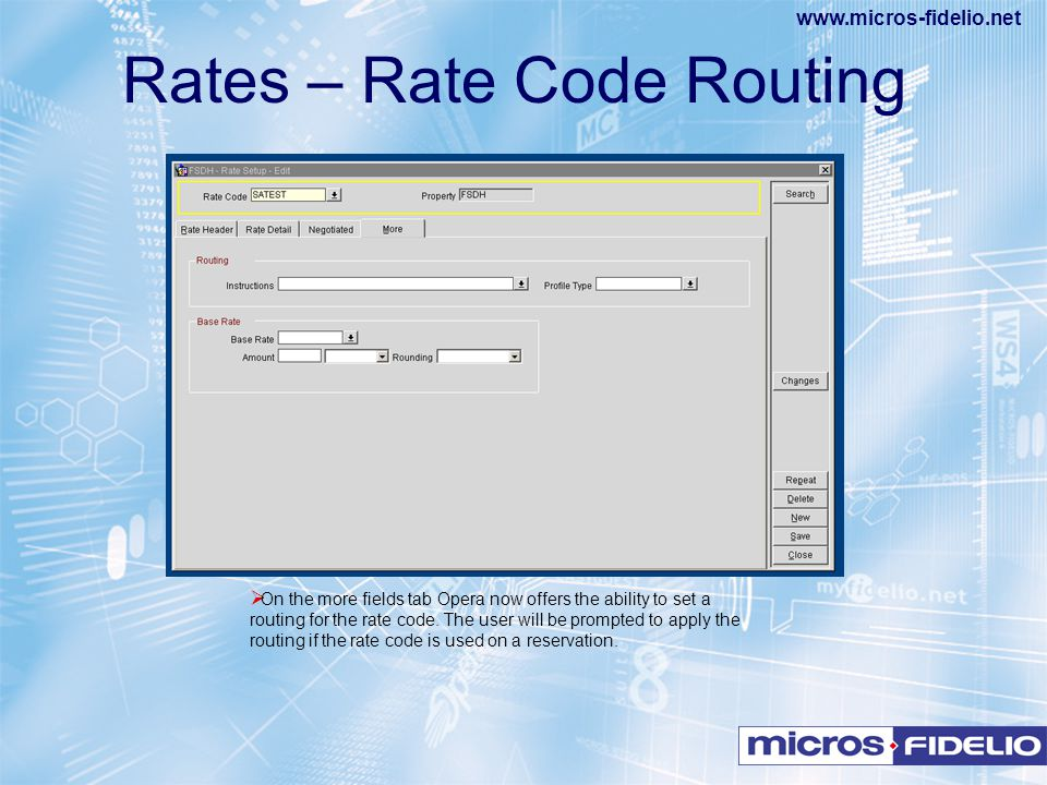 Rates – Rate Code Routing