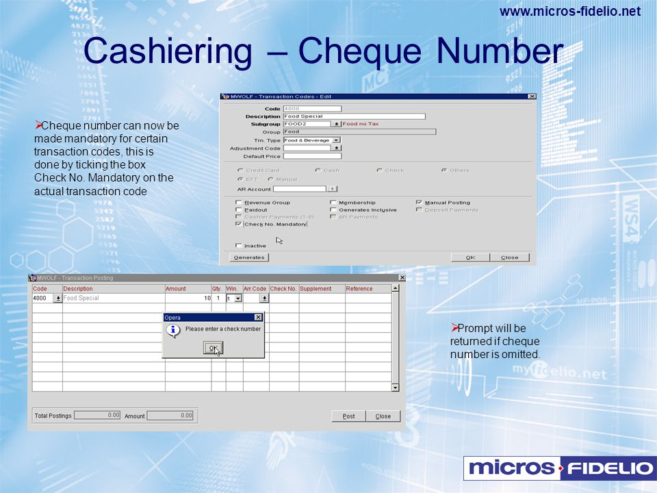 Cashiering – Cheque Number