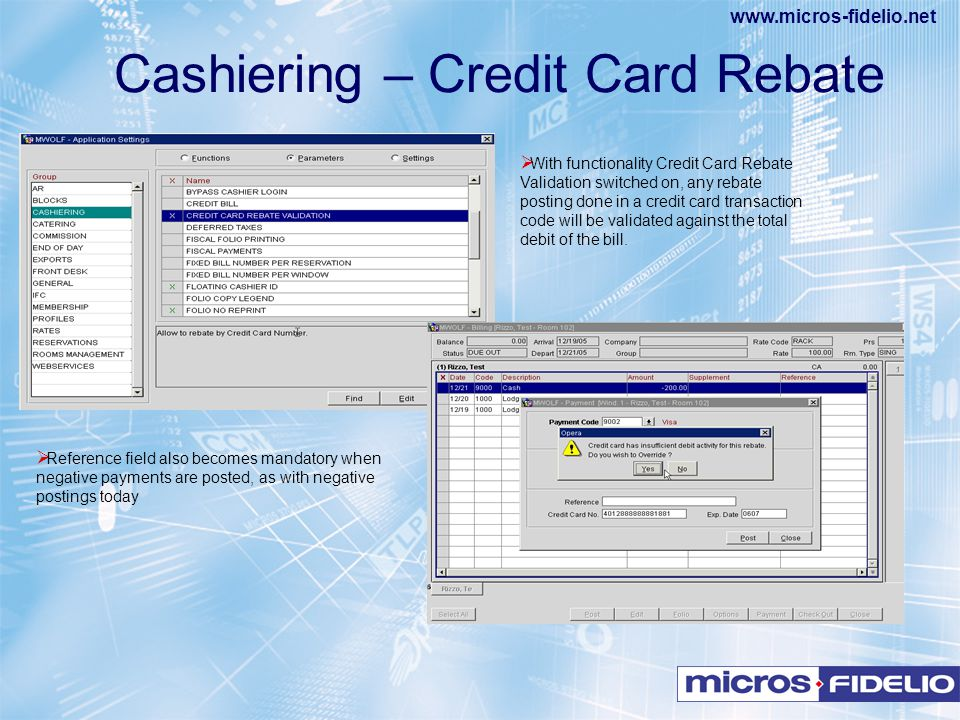 Cashiering – Credit Card Rebate