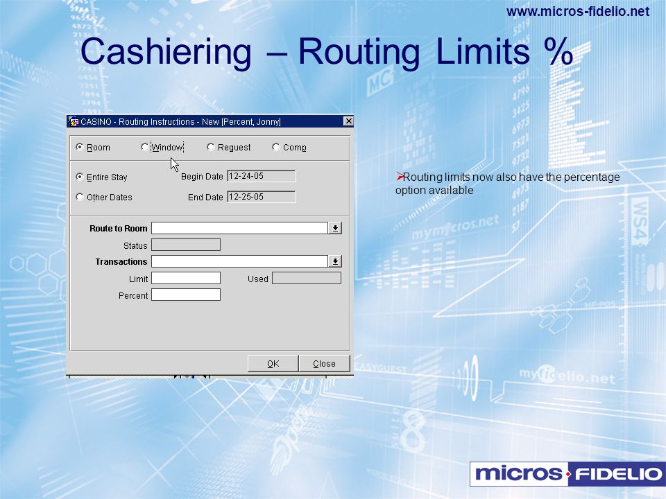 Cashiering – Routing Limits %