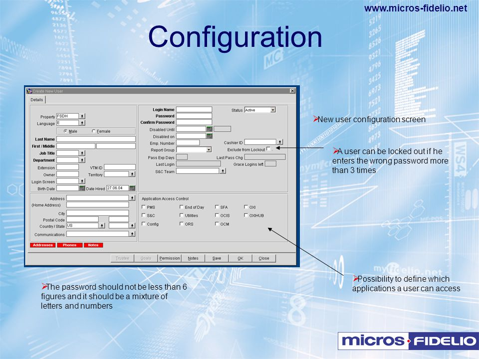 Configuration New user configuration screen
