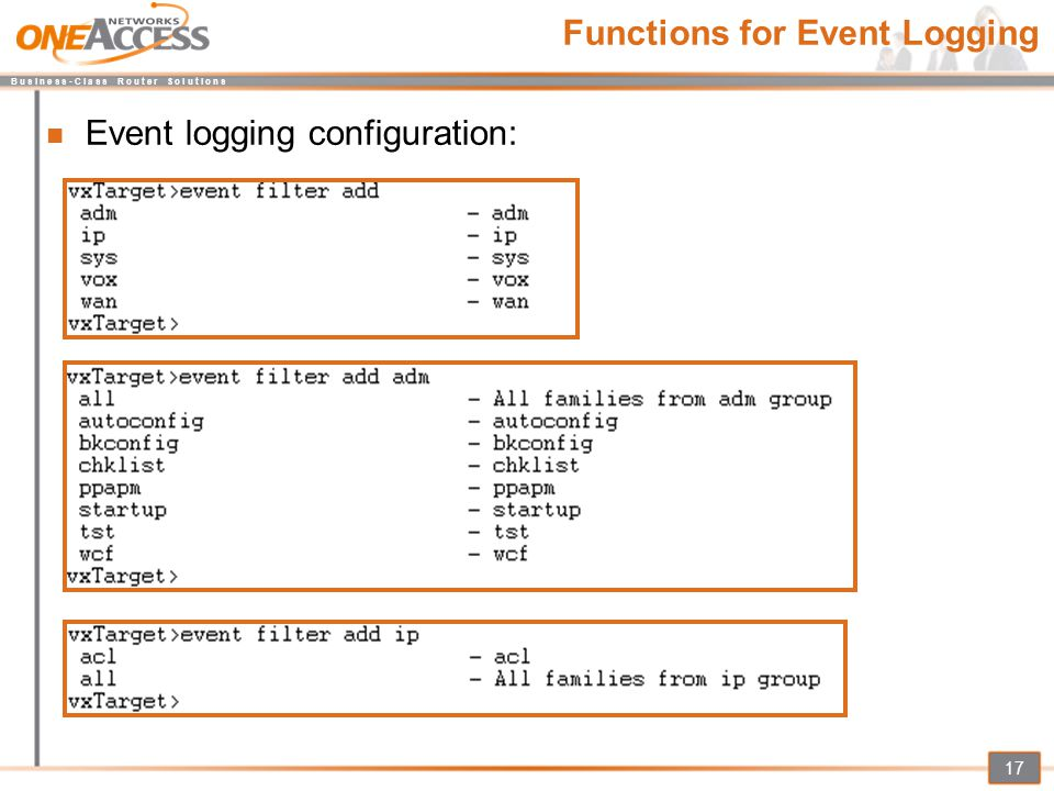 Functions for Event Logging