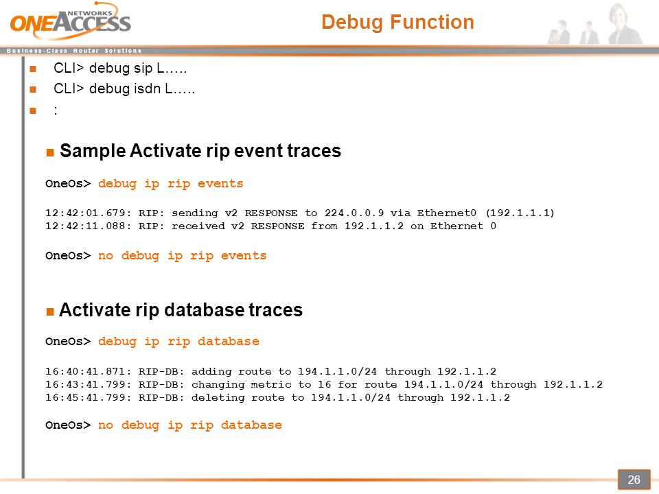 Debug Function Sample Activate rip event traces