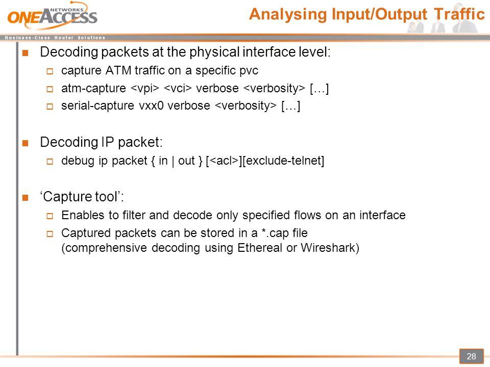 Analysing Input/Output Traffic